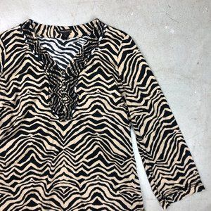 Tiger Animal Print 3/4 Tunic Ruffle Top
